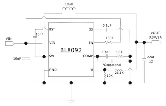 上海贝岭bl8092典型应用电路图