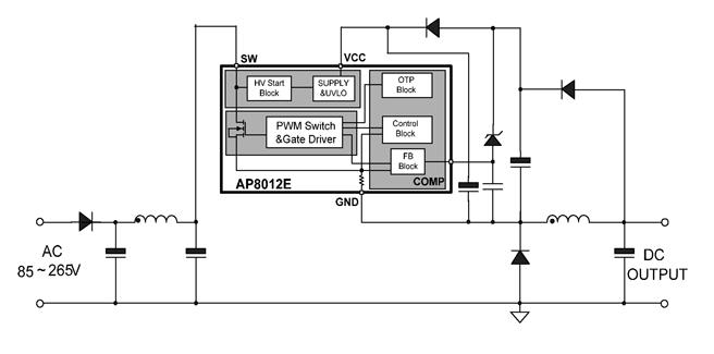 芯朋微ap8012e典型应用电路图