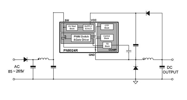 芯朋微pn8024r典型应用电路图