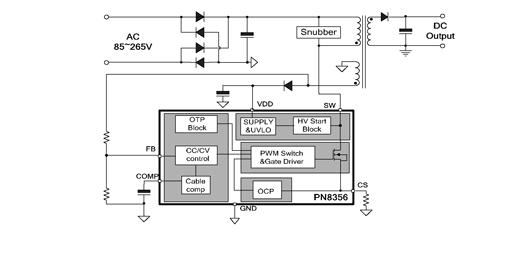 轻载时,该芯片采用较小的峰值电流工作以减小音频噪声.
