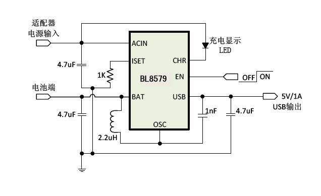 内部集成了1a线性充电模块,1a同步升压模块,充电显示灯,短路保护功率