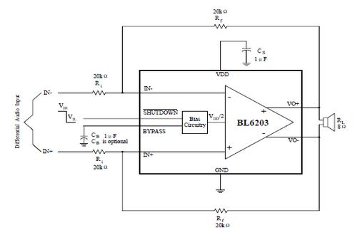 bl6203是完全微分音频功率放大器设计的便携式通信设备的应用程序.