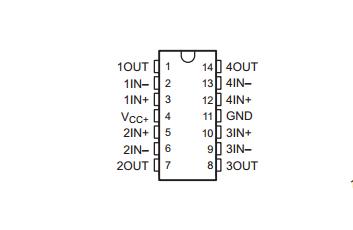 德州仪器LMV324引脚图/引脚功能