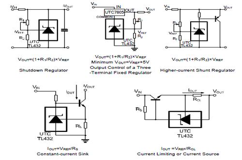 UTC台湾友顺TL432典型应用电路图