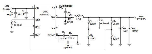 utc台湾友顺ud40201典型应用电路图