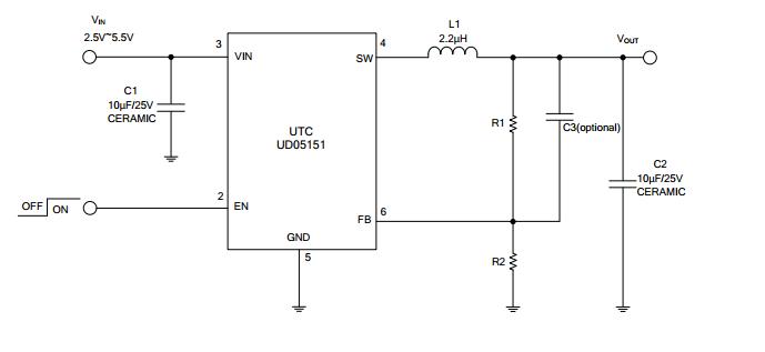 utc台湾友顺ud05151典型应用电路图