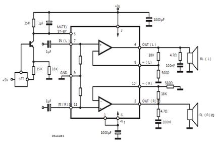 意法半导体tda7297a应用电路图
