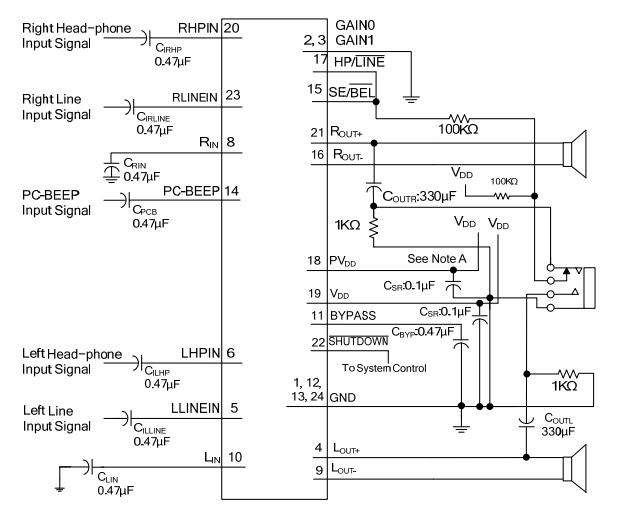 utc台湾友顺pa3212典型应用电路图