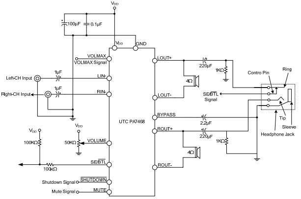 utc台湾友顺pa7468典型应用电路图