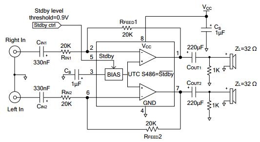 utc台湾友顺s486典型应用电路图