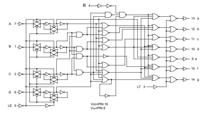 UTC台湾友顺 MC14511典型应用电路图